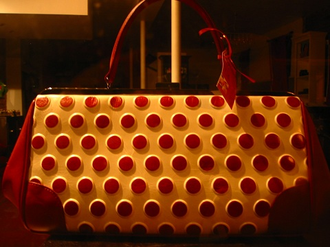 New York polka dot handbag