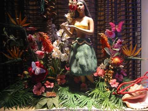 New York flowered store window
