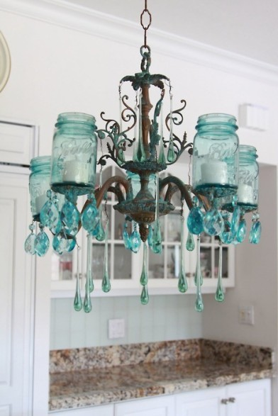 chandelier made with old glass bottles