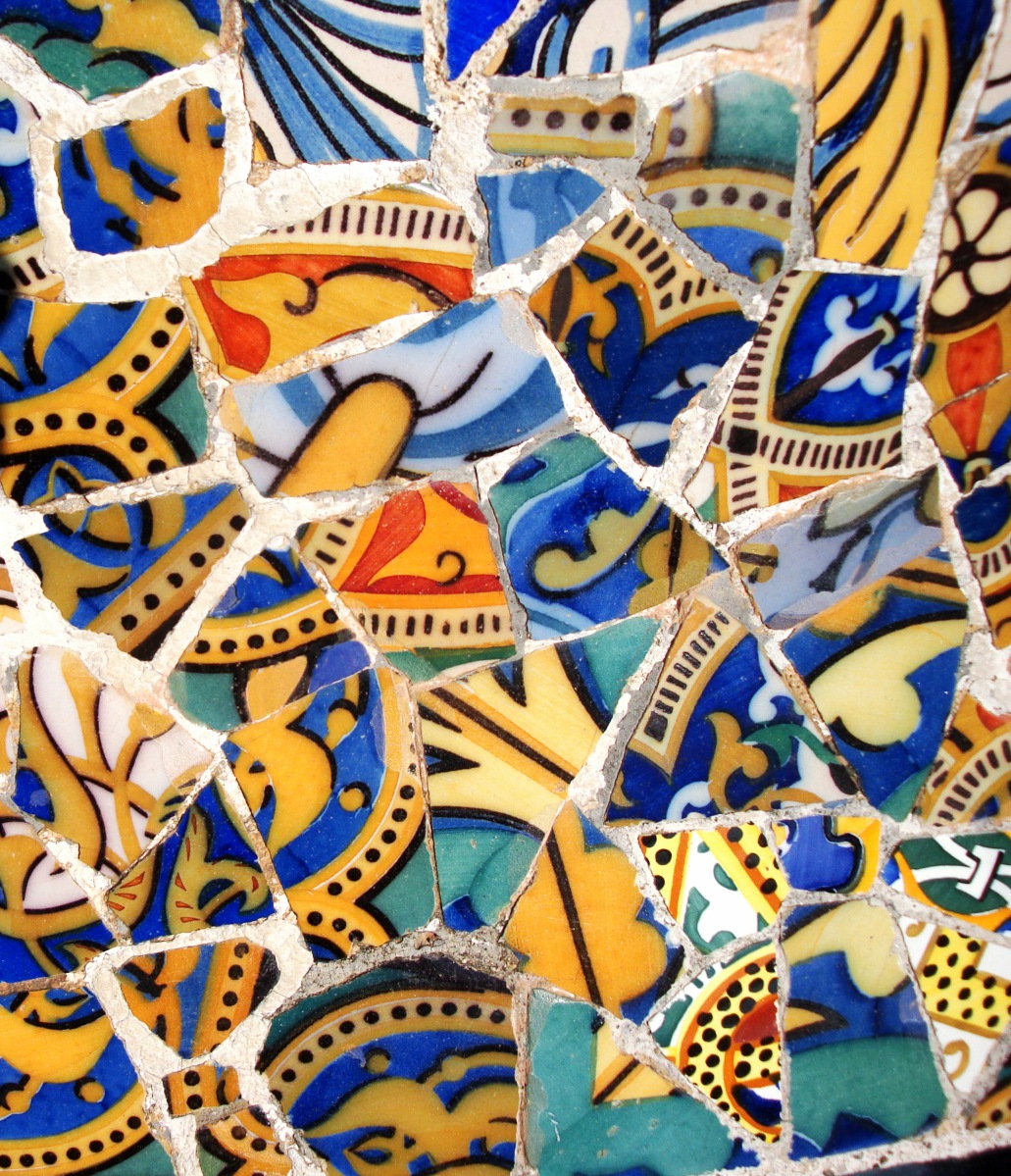 A city living in color of broken mosaics