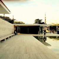 Mies Van Der Rohe' s Bauhaus style building in Barcelona