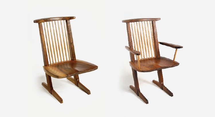 George Nakashima-conoid chairs with arms and without arms