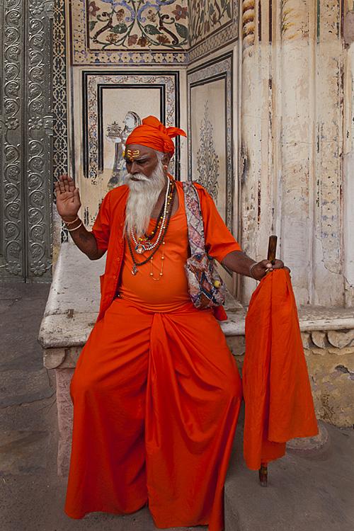 Indian Sahdu in orange dress