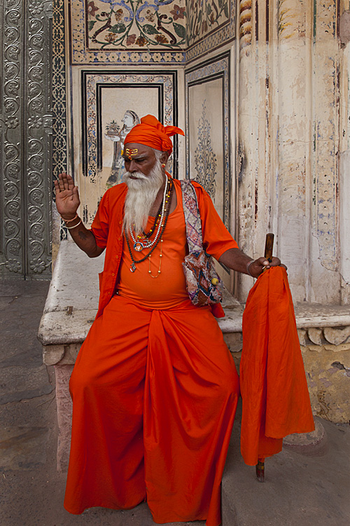 Indian Sahdu in orange dress