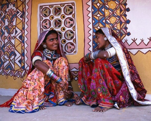 Young women in colorful dresses Meghwar tribe, Gujurat, India