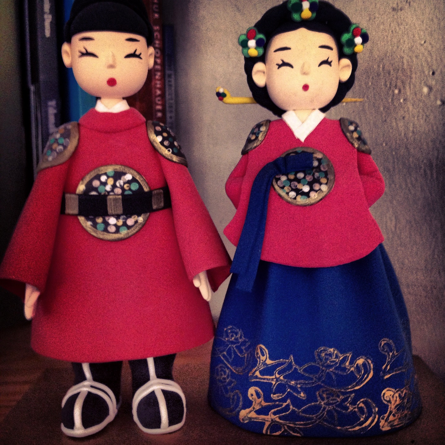 Traditional Japanese dolls as accessory in the loft