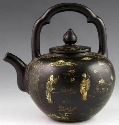 Yixing Black Clay Tea Pot 19 20th century
