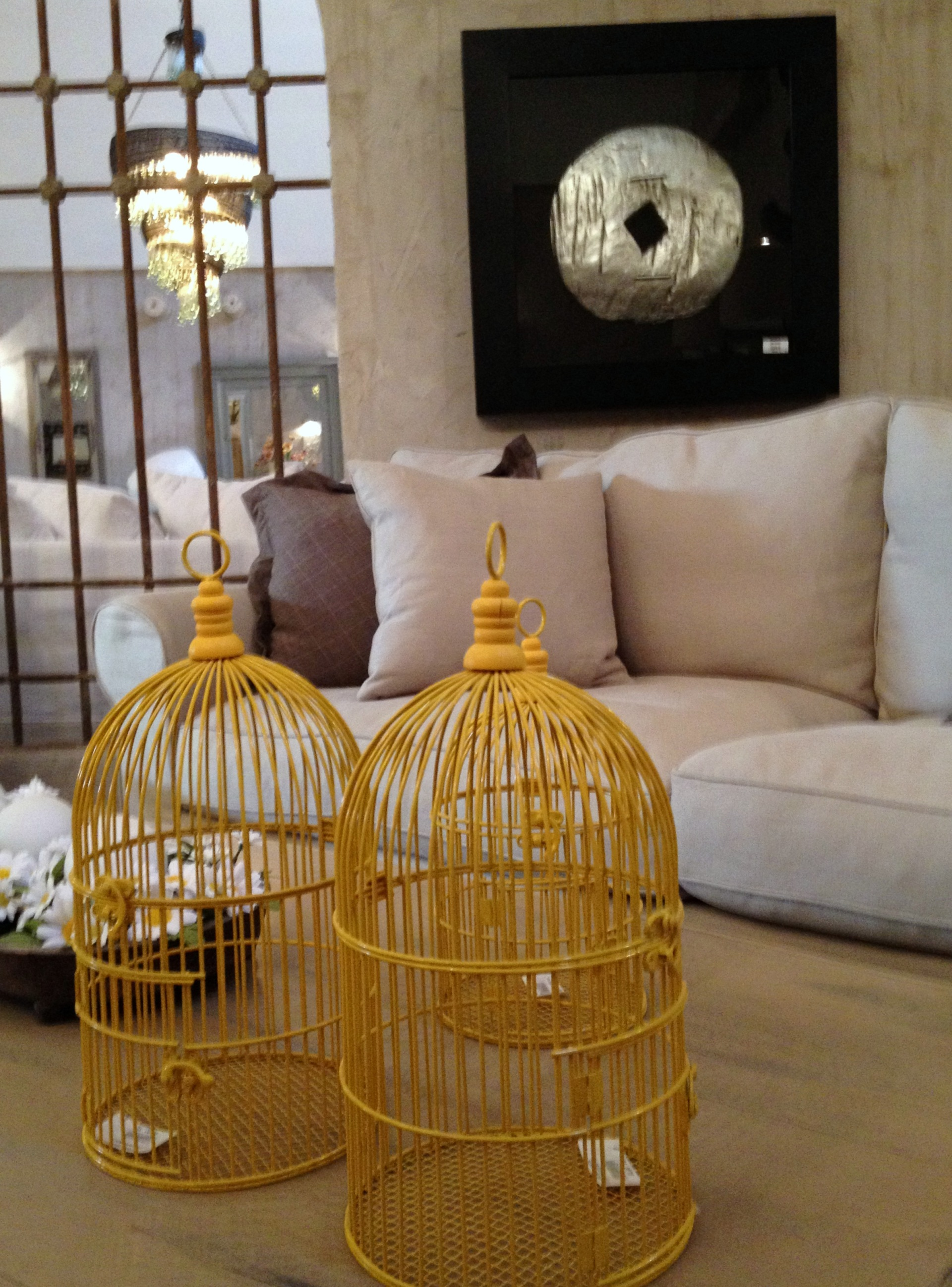 decorative yellow bird cages