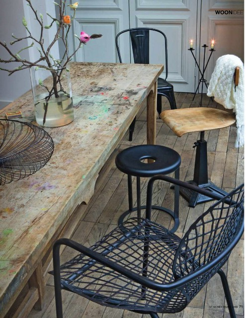 old wooden table and metal chairs