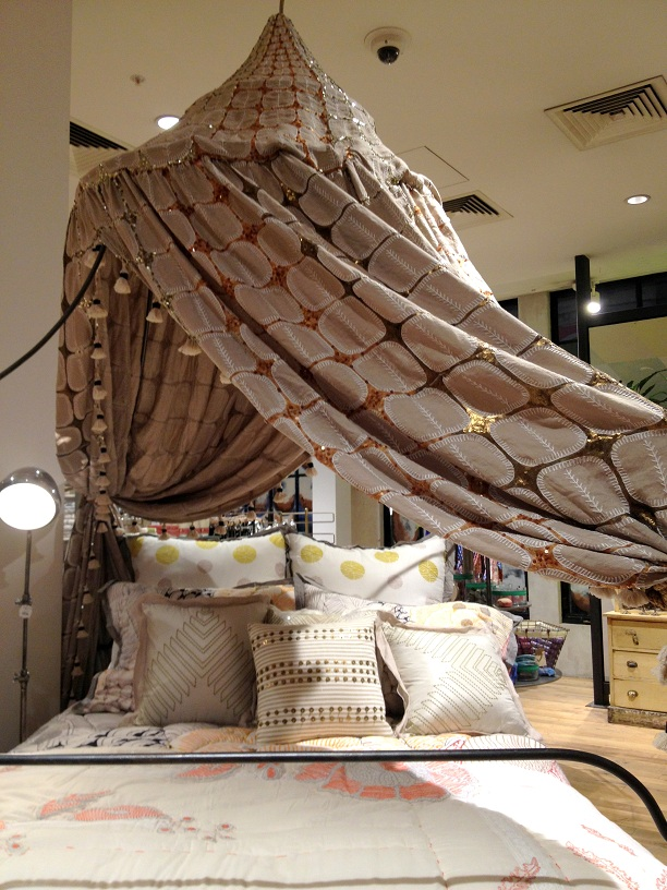 Anthropologie store in London bed setting