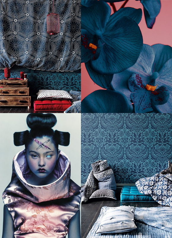 Far eastern style and indigo colors